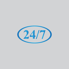 Character 24 7 sign. Vector icon