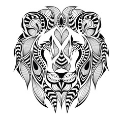 Patterned head of the lion. African / indian / totem / tattoo design. It may be used for design of a t-shirt, bag, postcard and poster.