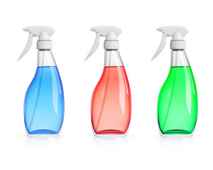set of three color spray bottles isolated on white background