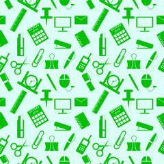 Seamless pattern with elements of office supplies in the green
