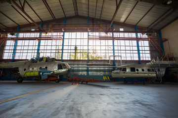 Wall Mural - Maintenance of helicoptes in the hangar