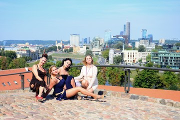 Beautiful girls in Vilnius town Gediminas castle hill