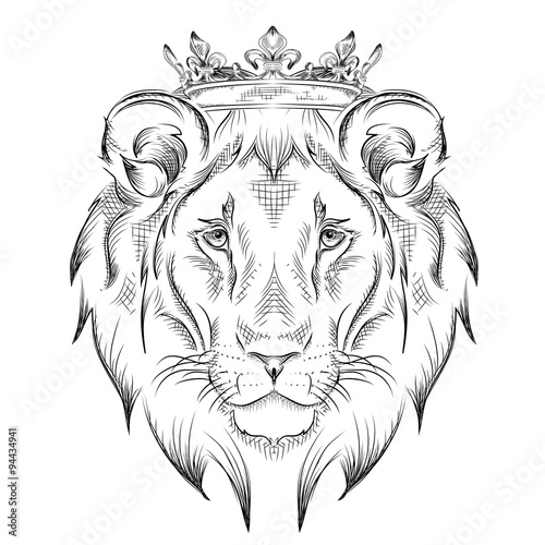 Ethnic hand drawing  head of lion wearing a crown. totem / tattoo design. Use for print, posters, t-shirts. Vector illustration