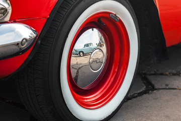 Wheel of retro cars with chrome cap Wall mural