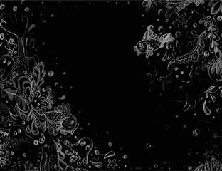 Hand drawn illustration of under the sea life.
