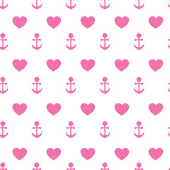 Vector seamless texture of anchors and hearts