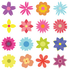 Set of vector flowers of various shapes and colors