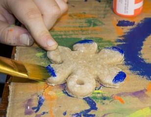 Child Painting Flower Decoration Craft