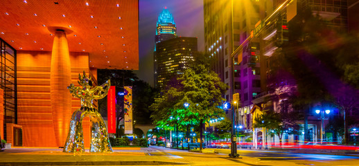 Wall Mural - night time on streets of charlotte north carolina