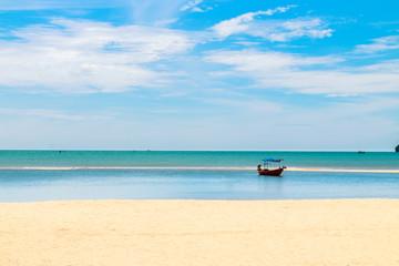Printed kitchen splashbacks Zanzibar Blue-sky on the beach with sand