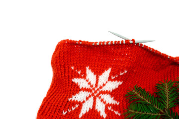 Close-up christmas knitting decoration