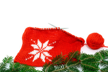 Christmas decor knitting pattern of a snowflake