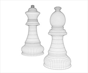 Chess pieces mesh in the vector. Chess pieces on a chess school or chess club.