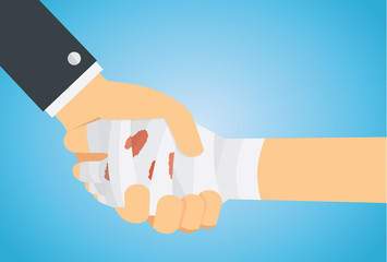 Check hand of hand has first aid with bandage and hand of business . This illustration meaning to personal insurance accident coverage