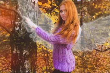 Autumn Angel,woman with wings