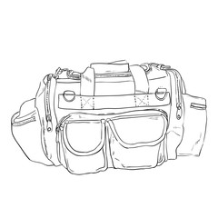 Vector sketch sports bag with pockets. Hand draw illustration.