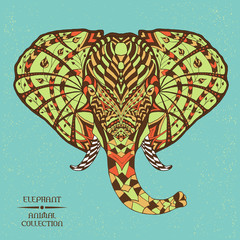 Elephant. Ethnic patterned vector illustration. African, indian, totem, tribal, zentangle design