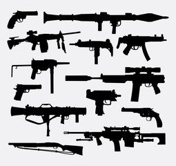 Gun weapon silhouettes. Good use for symbol, web icon, logo, mascot, or any design you want. Easy to use.