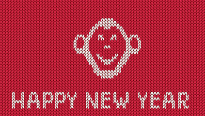 Scandinavian style new year greeting  knitted pattern with monkey