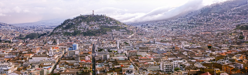 scenery of south component of the city in scene virgin of quito statue on panecillo ridge overlooking the city journey building quito ecuador carving mark landscape tour latin sculpture scene mountai