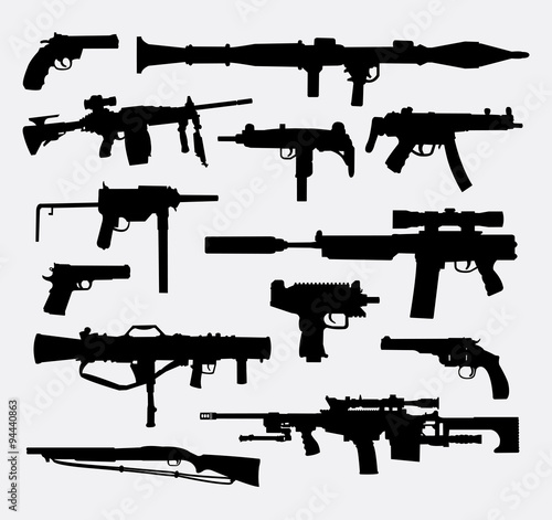 Gun Weapon Silhouettes Good Use For Symbol Web Icon Logo Mascot