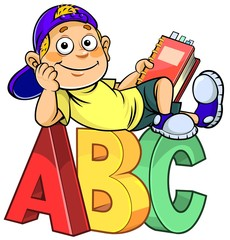 A cartoon boy holding a book and sitting on ABC alphabet letters.