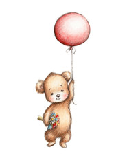 Teddy Bear with Red Balloon and Flowers