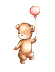 baby bear with pink balloon