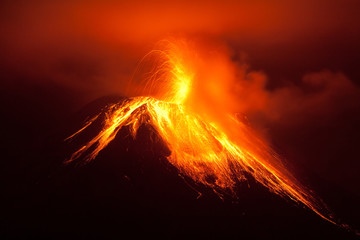 Tungurahua Volcano Powerful Night Eruption