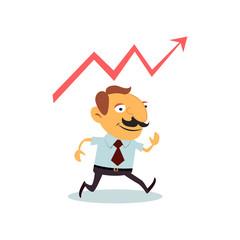 Businessman on background statistics.