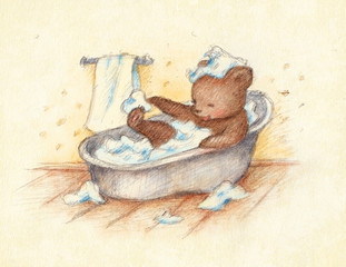 Bathing Teddy Bear