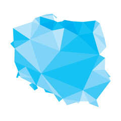 blue polygonal vector map of Poland