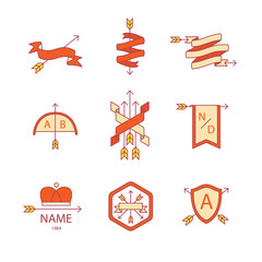 Arrow ribbon logo and emblem thin line icons set