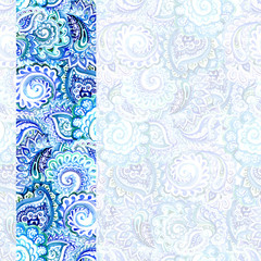 Ornamental blue winter floral card