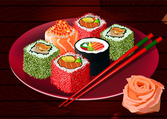 Sushi rolls on red plate, with sticks and ginger, vector illustration