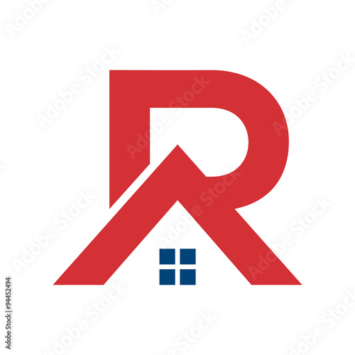 Simple r house logo template stock image and royalty for Minimalist house logo