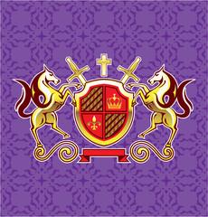 Golden Royal Emblem Horses Shield and Swords Vector Art Purple Background