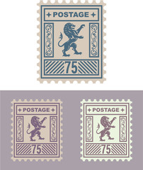 Mail Stamp with Vintage Royal Lion