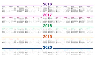 2016 2020 Year Calendar Calendar 2016 2017 2018 2019 2020   Buy this stock vector and
