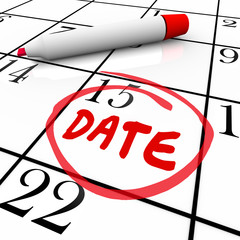 Date Word Circled Calendar Day Red Marker