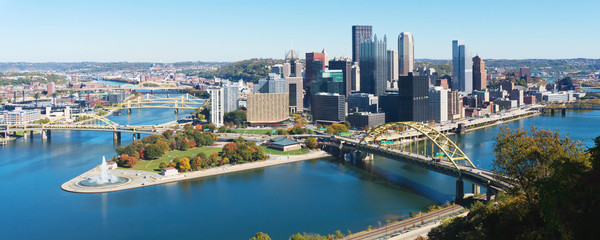 Panoramic view on Pittsburgh, PA  Fotobehang