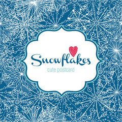 Snowflakes. Cute vector postcard.