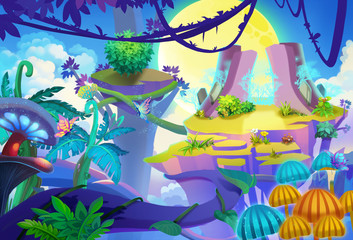 Illustration: Moon Shadow Mountain. Seems the vine is the only path to the other side. Removed the girl and raccoon. Cartoon Style. Scene / Wallpaper Design
