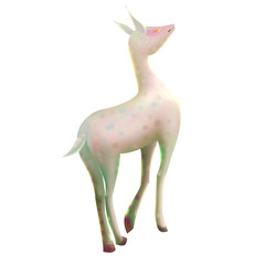 Illustration: The White Deer. Fantastic / Realistic / Cartoon Style, Story Character / Leading Role Design.