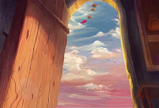 Illustration: Illustration: The Outside. Fantastic / Realistic / Cartoon Style. Wallpaper / Background / Scene Design