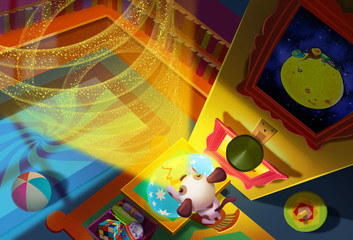 Illustration: Small dog opens the egg, magic rings grow to sky like Jack's beanstalk. He eager to see what's upper there with little master. Fantastic Cartoon Style. Wallpaper Background Scene Design.