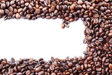 Coffee beans on white background background