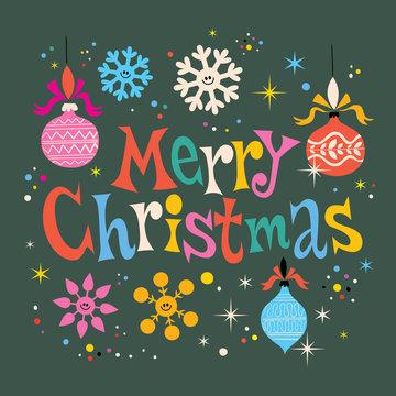 Merry Christmas retro greeting card