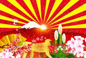 申 富士山 年賀状 背景