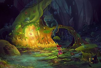 Illustration: The girl lost in dark forest. Monster will eat her at any time. Just in the moment, she found the mystery book shinning in a tree hole. - Realistic / Fantastic Scene Design